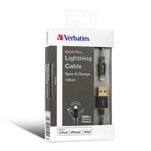 Verbatim 65322 Metallic Charge&Sync SteelFlex Lightning Cable - Black 120cm