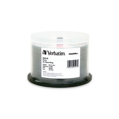 Verbatim 95203 DVD-R 4.7GB Silver Shiny 50Pk spindles
