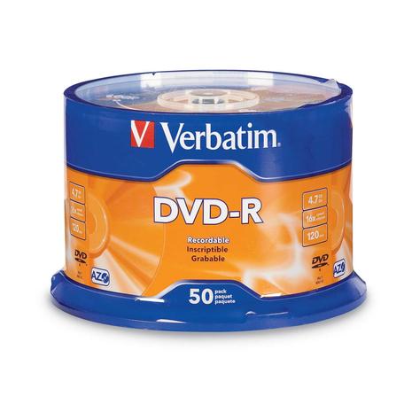 Verbatim 95101 Brand DVD-R 4.7GB 50Pk Spindle