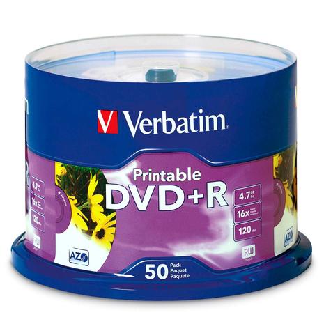 Verbatim 95136 DVD+R 4.7GB 50Pk White Inkjet 16x