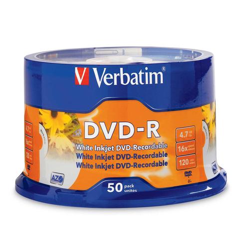 Verbatim 95137 DVD-R 4.7GB 50Pk White InkJet 16x