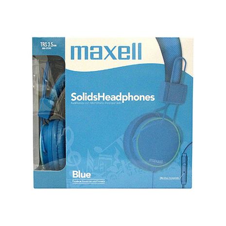 Maxell Spectrum Headphones TRS 3.5mm Stereo mic # SMS-10 Blue