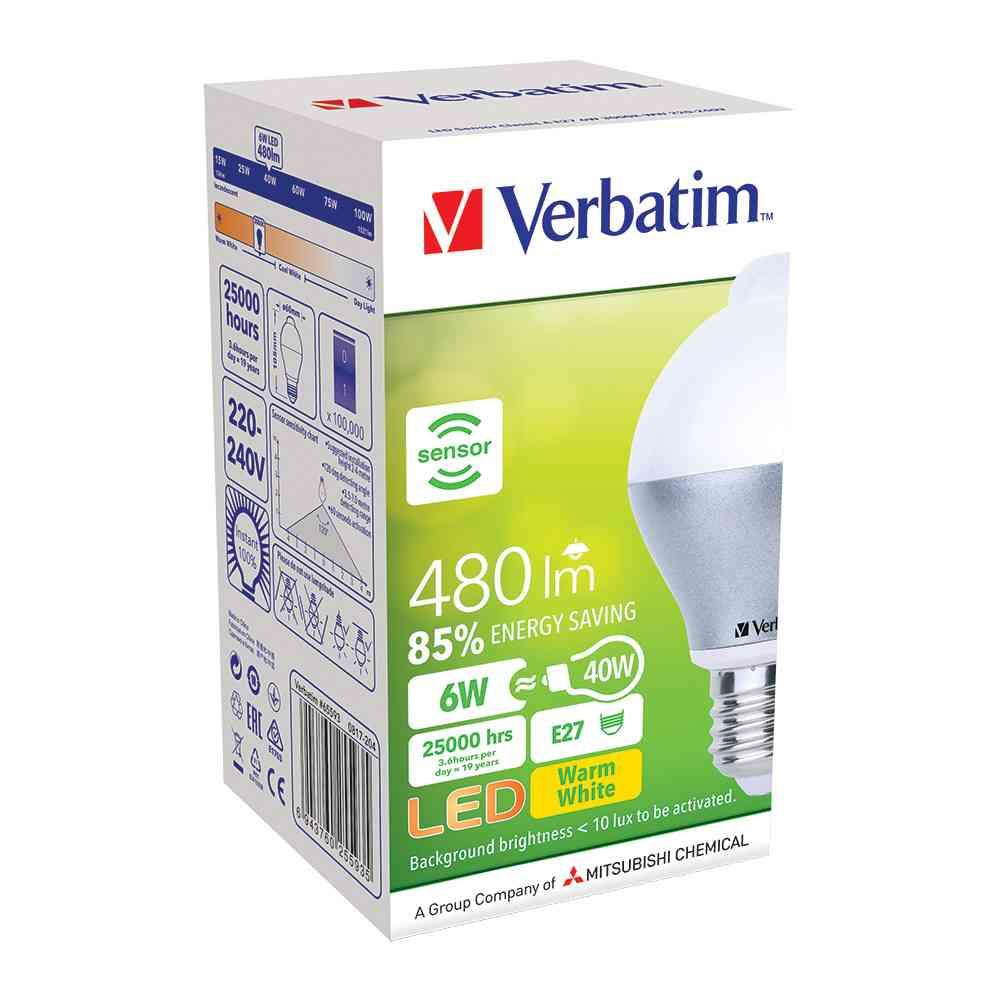 Verbatim 65593 LEDMotion Sensor Classic A E27 6W 480lm WW