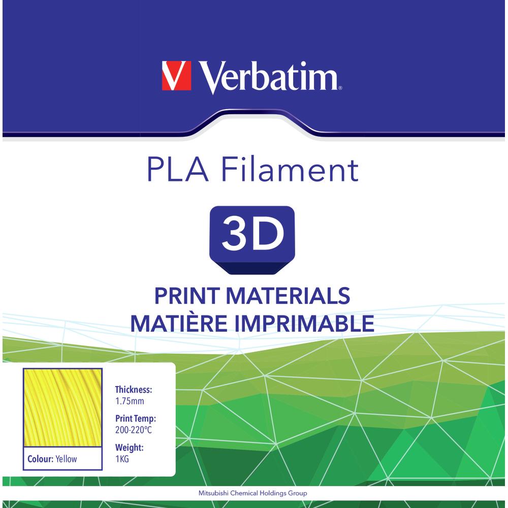 Verbatim PLA Filament 1 75mm Yellow 1kg reel 55273