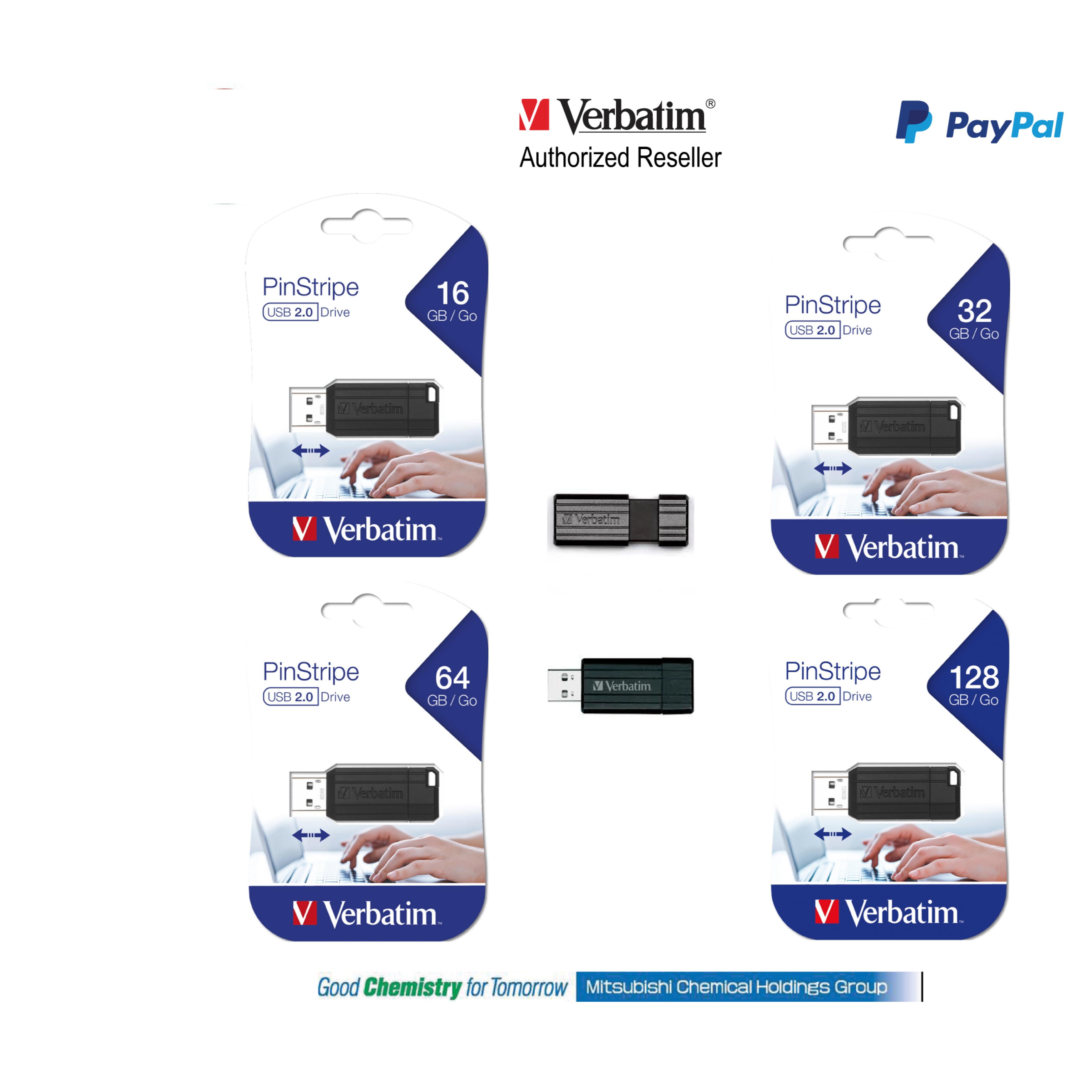 Verbatim StorenGo USB Flash Drive Pinstripe 8gb - 128gb