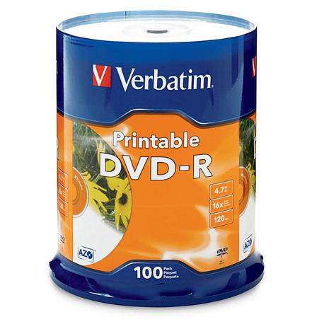 Verbatim 95153 DVD-R 4.7GB 100Pk White